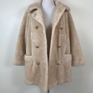 Vintage Oversized Beige Teddy Coat Jacket